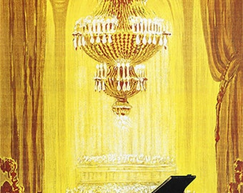 """New Vintage Reproduction German Advertising Poster """"C. Bechman"""" Pianos. c1920"""