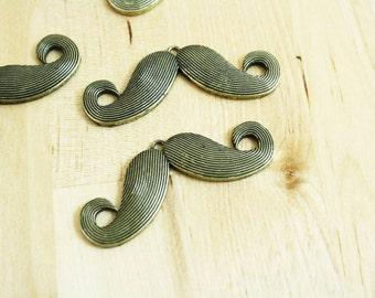 4 Antique Brass Mustache Pendants 20x55mm SALE
