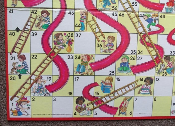 Vintage Chutes and Ladders Game Board 1979