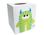 Wooden Tissue Box - Custom Hand Painted Children's Wood Kleenex Cover - Cute Monster Creature or Any Kid's Theme