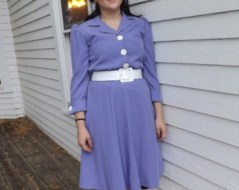 Vintage 80s Purple Dress Shirtdress Casual Retro 50s 9 10 S M