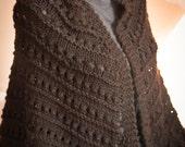 Dark Chocolate Brown Soft Hand Knit Triangular Prayer Shawl, Scarf, Wrap, Cowl - Made by Memere