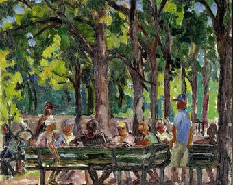 Oil Painting Landscape, Domino Players in Inwood Hill Park, NYC. Small Original 8x8 Plein Air Impressionist Oil on Panel, Signed Original