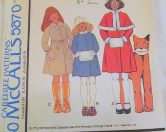 vintage McCALLS 5870 (1977)-- Children's and Girls Coat, Capelet, Hat & Muff (size 5) --ANNIE'S clothing line