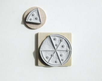 Pizza Party Hand-Carved Rubber Stamp Set