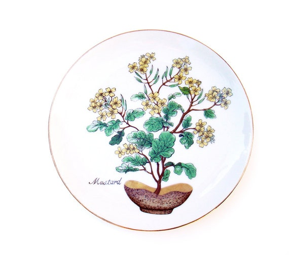 Vintage Decorative Plate with Mustard Plant Green Leaves Yellow Flowers Motif Botanical Print