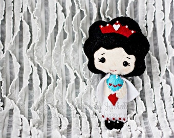 """RTS The Queen of Hearts Felt Doll - 4-3/4"""" Handmade Miniature Doll - Softie - Ready To Ship - Gingermelon Doll"""