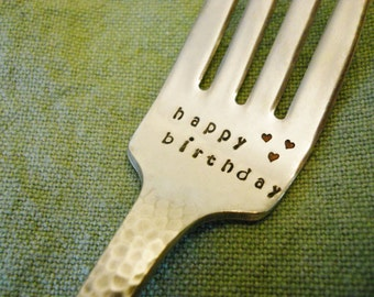 HAPPY BIRTHDAY Fork: Custom Birthday Gift Idea for Men Her Kids Mom Dad Boy Girl; Stamped Fork, Recycled, Vintage, Silver, Party Decoration