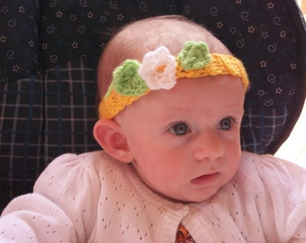 Bright Yellow Headband....Spring and SUMMER....3 to 6 month Girl....ON SALE & Ready to Ship