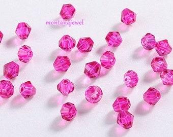 50 Fuschia Hot Pink Glass Beads Bicone 4mm