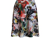 "Travel Skirt in Funky Abstract Painting  Print, ""Play"" Skirt"