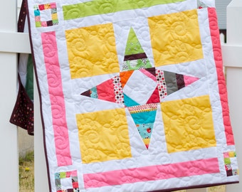 Lap Quilt - Patchwork, Handmade - Floral, Polka dots, Leaves, Dots, - Modern Quilt
