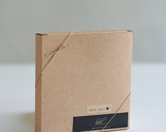 1 sample box- 6 1/4 x 6 1/4 x 1 inch Kraft Gift Boxes - great for square prints