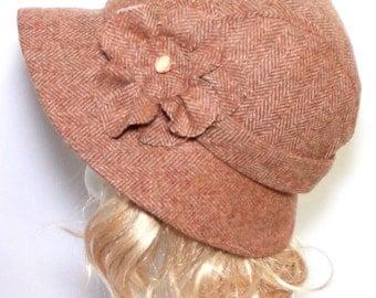 SALE - Cloche Hat -Vintage Beige Wool Herringbone- with Flower