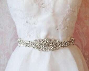 "Crystal Skinny Sash, Bridal Sash, Silver, Gold, Rose Gold Wedding Belt, 13"" of Rhinestones- ATHENA"