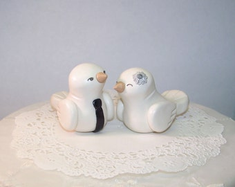 Wedding Cake Topper -- Birds - Fully Customizable - Cupcake Topper-Pie Topper- Silver and Black - FAST SHIPPING - Fully Custom Made Your Way