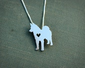 Norwegian Elkhound necklace, sterling silver hand cut pendant, with heart, tiny dog breed jewelry
