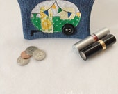 Small Green and Yellow Vintage Camper Travel Trailer Denim Zip Pouch with Button