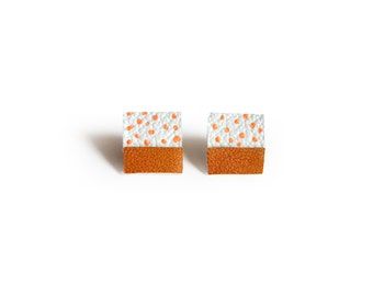 Square Post Stud Earrings, Geometric Earrings, Brown and Peach Polka Dot Pattern Jewelry