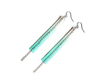 Long Mint Earrings, Silver Minimal Earrings, Geometric Earrings, Teal and White Ombre Long Earrings, Chain Earrings