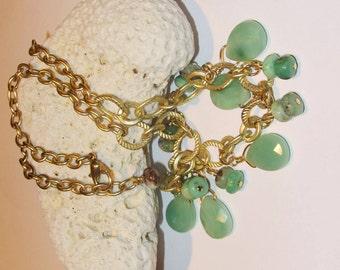 Bib necklace, Chrysophase, Agate, statement necklace, dangles, teardrop, green necklace, gemstone teardrops, faceted stone, designer artisan