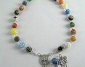 Saint Christopher Auto Rosary featuring Multi Colored Millefiori Beads (03)