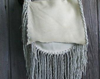 Large leather  handbag with hand tied twisted fringe ,  Handmade custom designer handbag