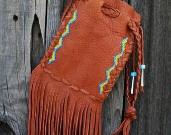 Beaded leather drawstring pouch , Buckskin cedar bag with beaded chevrons ,  Drawstring wrist bag