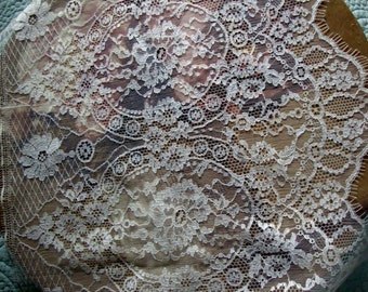 """14.5"""" Wide French Cotton White Floral Lace Victorian Style Wedding Lace Bridal Lace Antique Style Lace Made in France Renaissance JM16"""