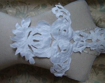 White Satin Lace Applique Fabric Neckline Applique Embellishment Necklace Black S112