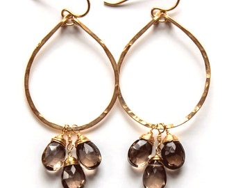 Smoky Quartz Earrings - Teardrop Smoky Quartz Cluster Hoops / 14k Gold Filled Hammered Hoop Earrings / Hammered Gold Hoops with Smoky Quartz