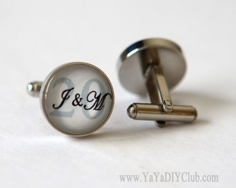 20 year wedding anniversary gift for husband, 20 year Anniversary Gift for him, Personalized Cuff links Custom Initials Number Color