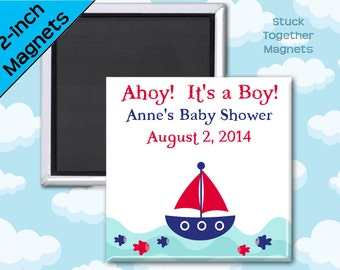 Ahoy It's a Boy Baby Shower Favor Magnets - 2 Inch Squares - Set of 10 Magnets