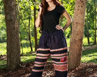 100 percent Hemp pants in blue for Women