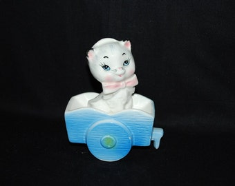 Vintage 1950's Bradley Grimco Ceramic White Cat in Cart Figurine - Pastel Blue and Pink