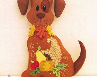 Dog Stuffed Animal Pattern - Felt Plushie Sewing Pattern & Tutorial - Harvest the Thanksgiving Dog - Thanksgiving Embroidery Pattern PDF