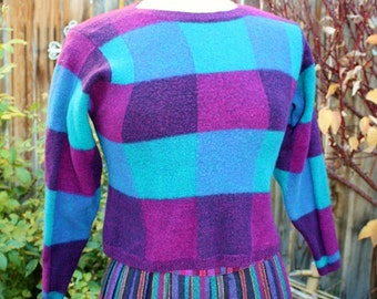 1980's Wool Sweater Felted Magenta Teal Blue Wine Plaid Design Vintage REtro 80s Preppy Hipster X-Small Childrens Girls
