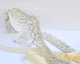 Silver Rhinestone Lace Bridal Belt, Downton Abbey Style, Diamante Sash, Rhinestone Belt, Bridesmaid Belt, Bridal Sash, Rhinestone