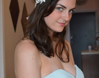 Rhinestone Bridal Headband, Sparkly Crystal Wedding Headband, flowers and vine Greek Goddess by Jill's Boutique