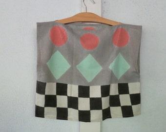Vintage Raw Silk Box TOP Harlequin Pattern Handmade 1980s