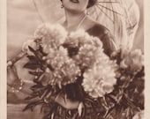American Silent Film Actress Fern Andra with Parasol & Flowers..circa 1920