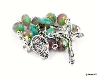 Auto Catholic Rosary Beads Pocket Green Purple Czech Glass Picasso Bead 1 Decade Silver Mirror Car Truck