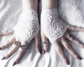 Khnemu Lace Fingerless Gloves | Micro Mittens | Snow White Floral Scroll Embroidered | Wedding Gothic Lolita Bridal Spring Bridesmaid Mori