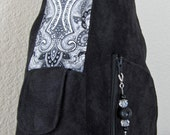 Backpack Purse in Black Suede Gray Paisley Fabric