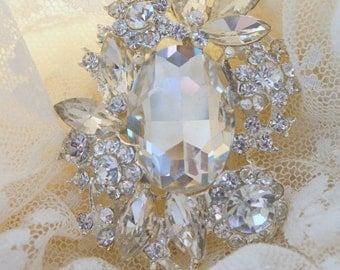 Rhinestone Brooch Pin - Rhinestone Jewelry Crystal Brooch -  Vintage Style Brooch- Perfect For Bridal Bouquets - Bridal Sash