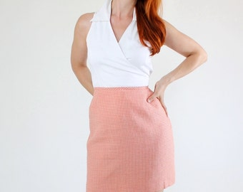 SALE - Vintage 90s Orange Gingham Fall Skirt
