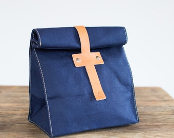 No. 215 Lunch Tote in Navy Duck Canvas