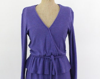 70s dress - 1970s v-neck dress - 70s purple knit dress - medium - spring dress