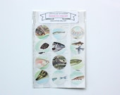 Tropical fish stickers - made from a vintage book