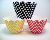 Polka Dot Cupcake Wrappers - Mickey & Minnie Mouse Red, Yellow and Black - Set of 12+